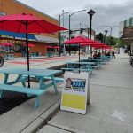 Picnic tables on a city street