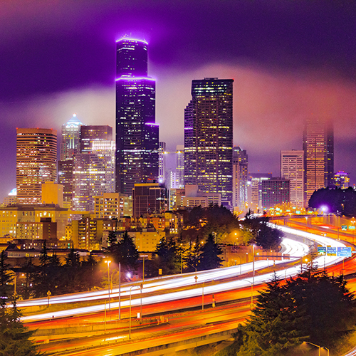 Image of I-5 through downtown Seattle