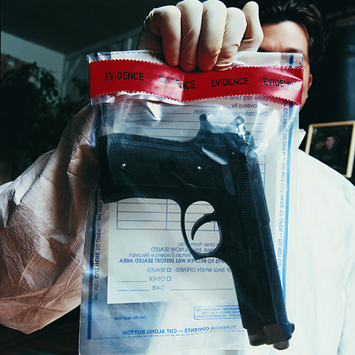 Image of a firearm in an evidence bag