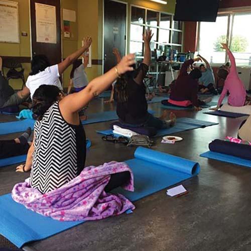 Participants practicing yoga during an ALMA pilot session