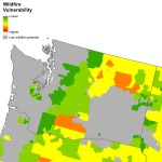 These maps show wildfire vulnerability across a state, region or the entire country. Wildfire vulnerability takes into account both landscape wildfire risk and socioeconomic factors in determining how likely an area is to adapt and recover from a wildfire. Gray areas on the maps correspond to areas where physical risk of large-scale wildfire is unlikely.