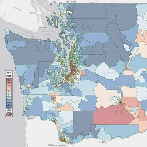 Image of environmental health disparities map