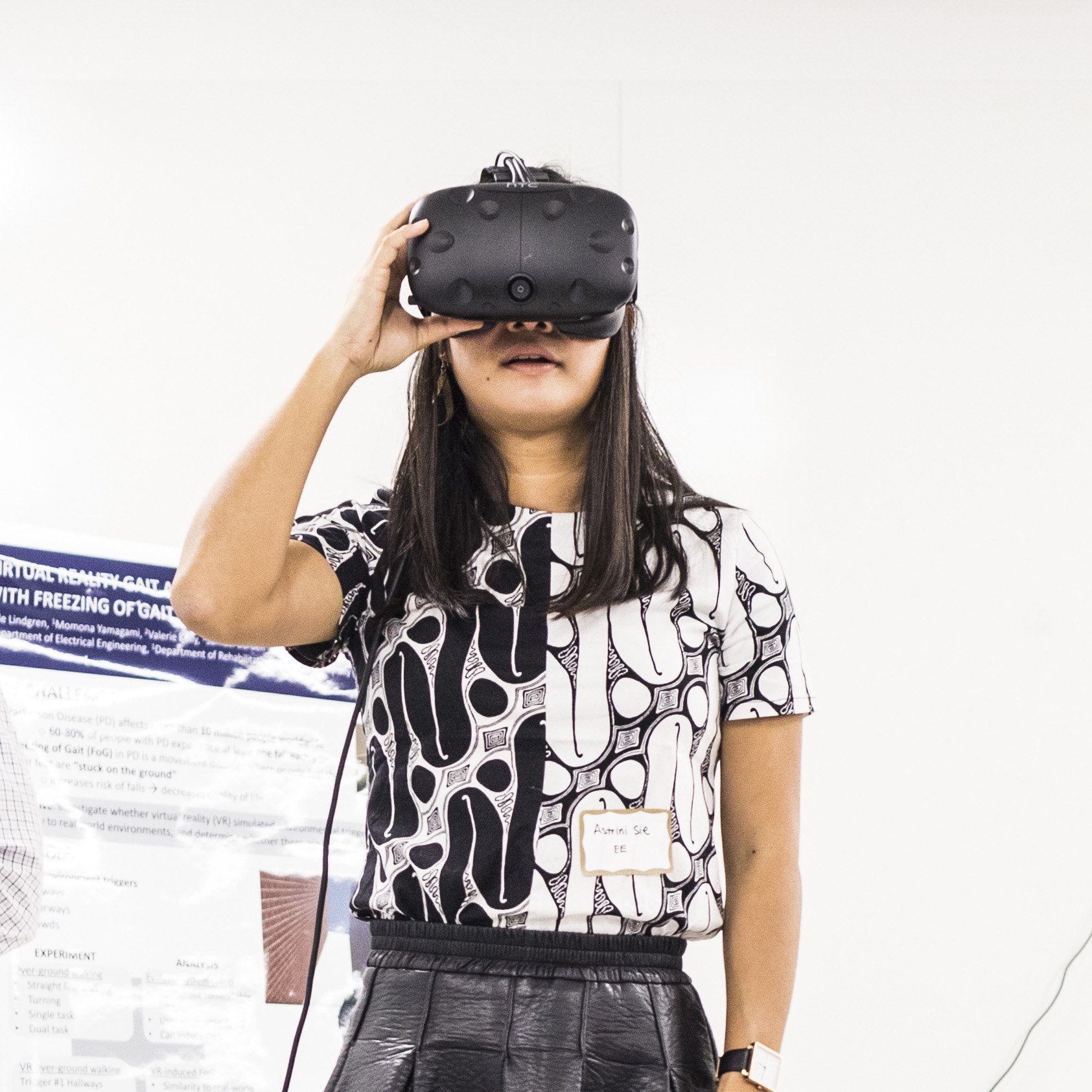 Image of student engaged with a virtual reality headset