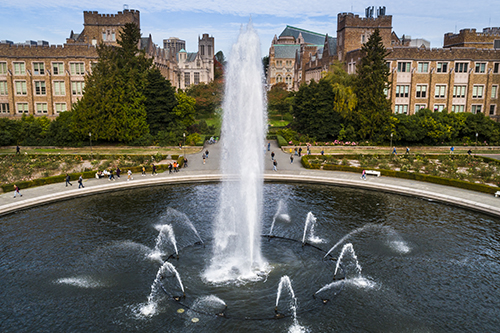 Aerial view of UW's Drumheller Fountain