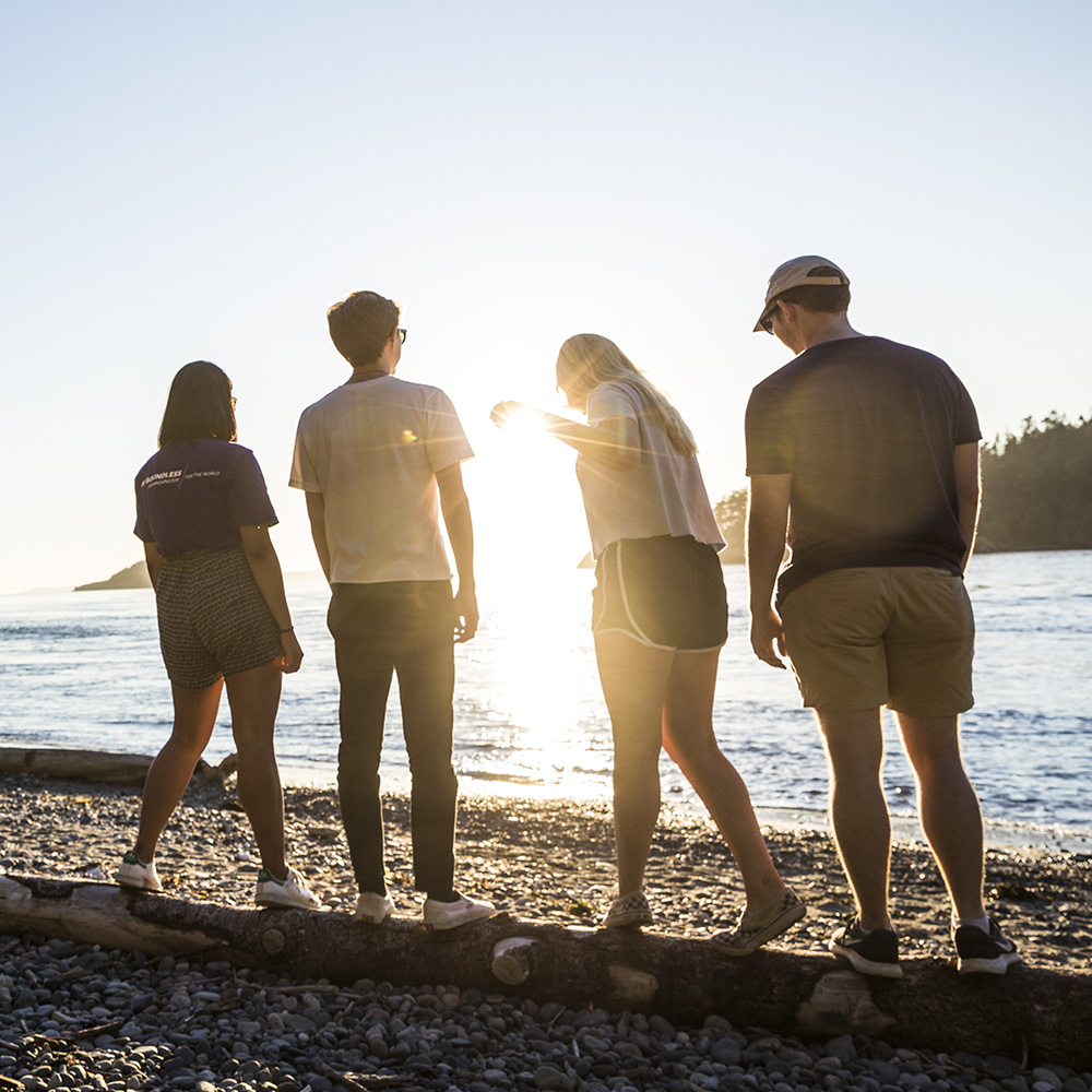 Image of young adults standing on a beach