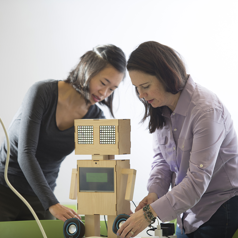 A project team works on developing a social robot