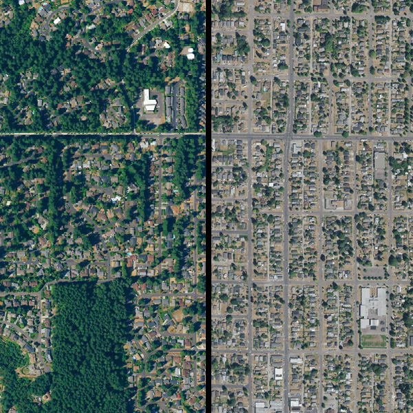 An aerial view showing the differences in tree cover in two neighboring cities