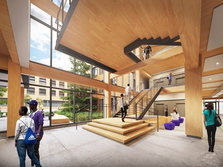 The UW Foster School of Business' Founders Hall, scheduled to open in 2021, will be constructed with cross-laminated timber — a state of the art engineered wood that is healthy for people and the planet.