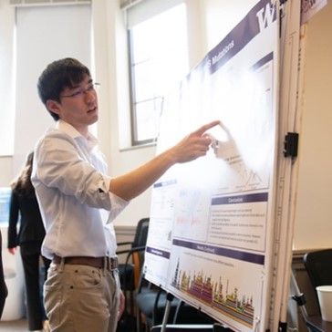 A students present their work at the Undergraduate Research Symposium in Mary Gates Hall