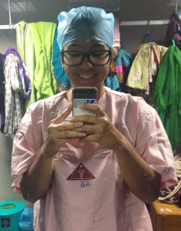 Kenia Diaz in scrubs
