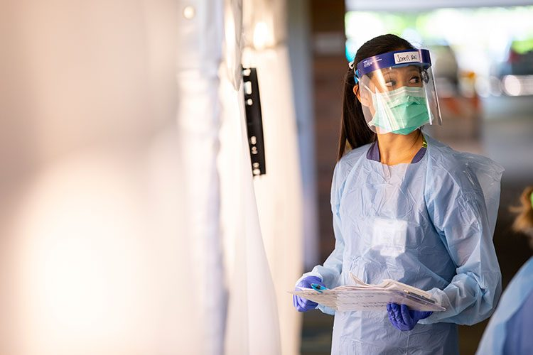 Medical worker wearing mask