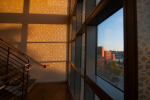 Sun strems through patterned glass at the Physics/Astronomy building. Photo by Katherine B. Turner