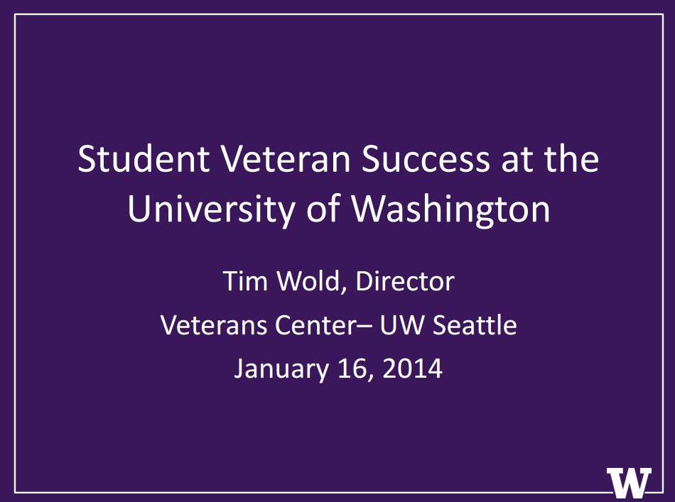 Student Veteran Success at the UW