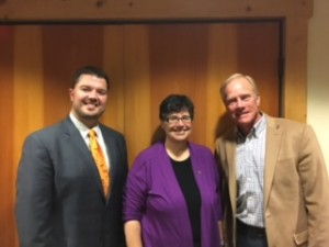 UW President Ana Mari Cauce with Rep. Brandon Vick and Rep. Paul Harris at the Heathman Lodge.