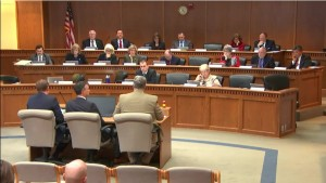 Joe Dacca and Tom Schappacher testifying to the Senate Ways and Means committee