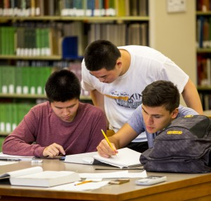 Students studying at a library