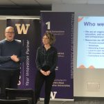 A male and a female speaker speaking at the bootcamp