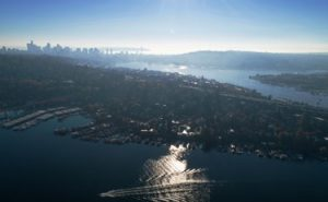 Seattle from above Portage Bay