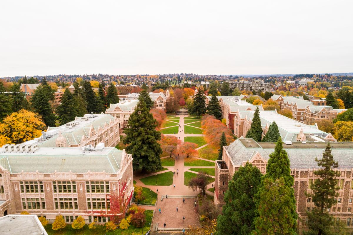 Aerial view of the UW's Seattle campus Quad