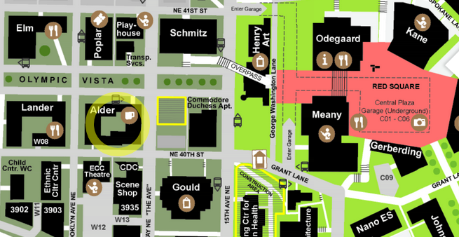 Map showing location of Alder Hall at the corner of NE 40th Street and University Way NE