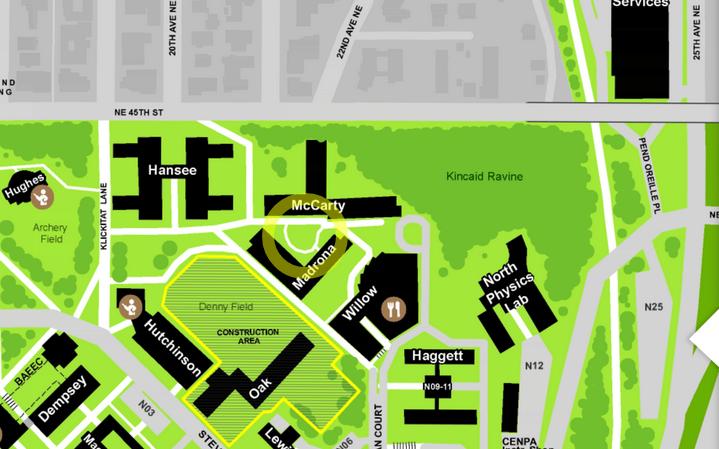Location of Madrona Hall, 4320 Whitman Lane NE