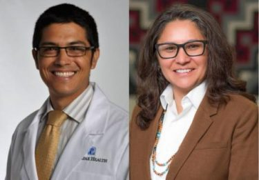 head shots of Dakotah Lane, MD and Esther Lucero, MPP (Diné)