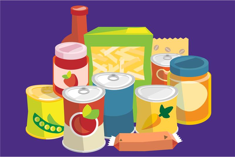 Illustration of a variety of canned food