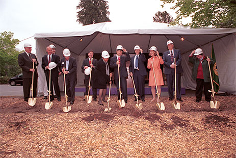 Photograph of the groundbreaking ceremony for William Gates Hall