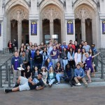 A group of high school juniors and their mentors gathering in front of Suzzallo Library for a picture before taking a tour of campus at last year's Spring BBQ