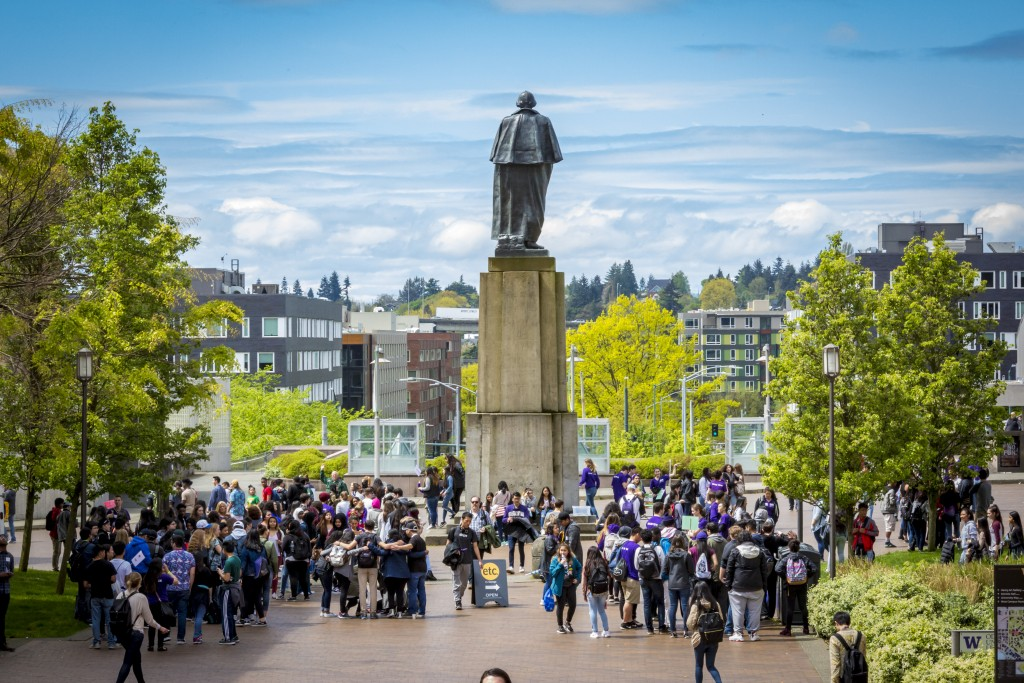 Students and mentors at the Washington Statue on campus during SBBQ
