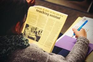 Grad student reading at TA/RA Conference