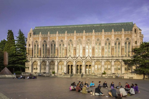 students in front of UW Suzzallo library