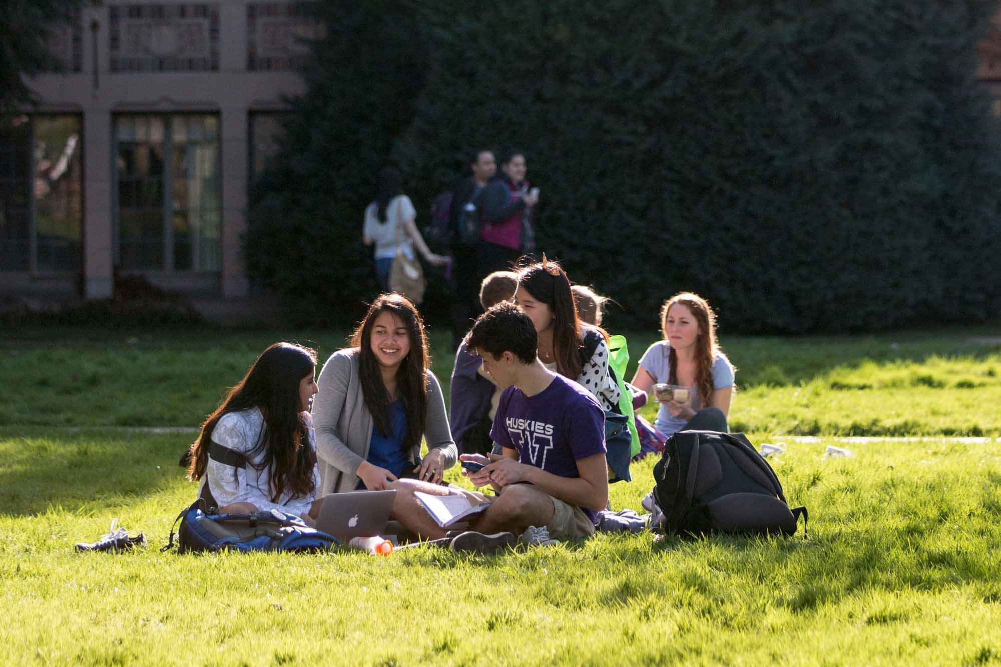 Students in UW quad