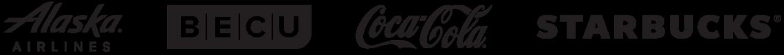 Alaska Airlines, BECU, Coca-Cola, Starbucks logos