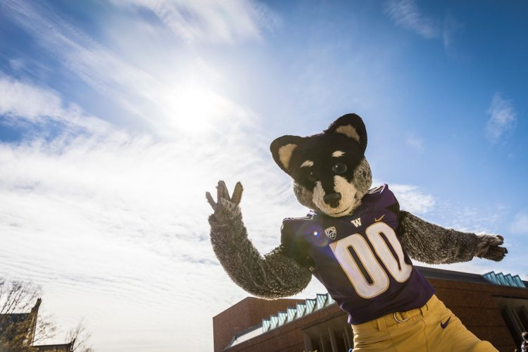 """Harry Husky mascot gives the """"Dubs Up"""" on Red Square"""