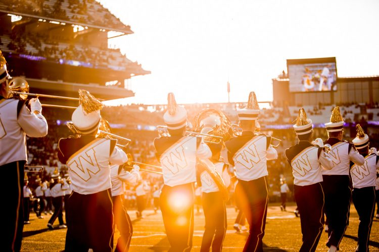 Marching band takes the field in Husky Stadium