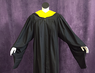 Black Master's robe with yellow hood