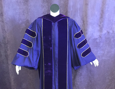 Purple graduation gown with purple hood