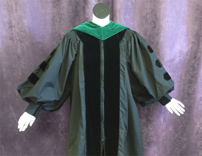Green graduation gown with green hood
