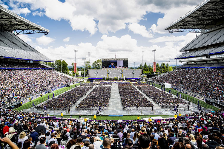 Husky Stadium crowd during graduation
