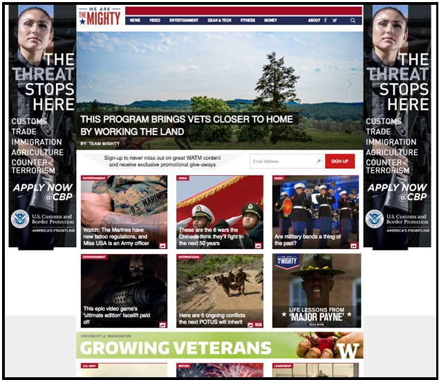 Screenshot of Growing Veterans ad on We Are the Mighty
