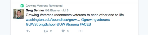 Screenshot of tweet about Growing Veterans