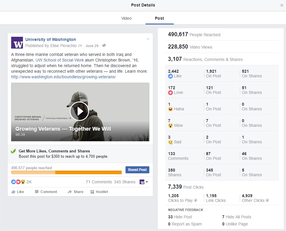 Screenshot of Growing Veterans insights from Facebook