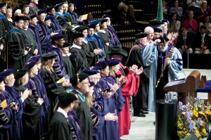 Faculty members wear doctoral gowns during Freshman Convocation