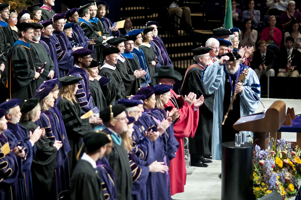 553f0b89ba1 Faculty members wear doctoral gowns during Freshman Convocation