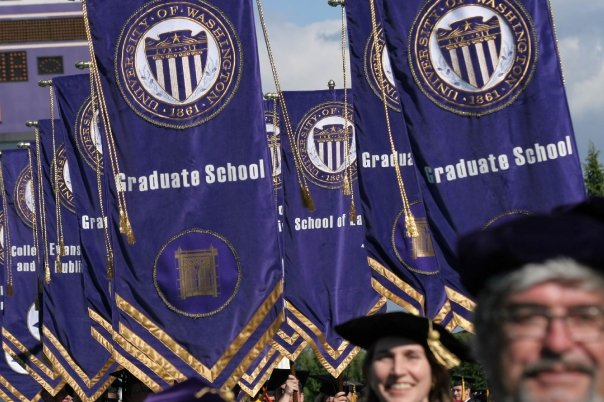 Gonfalons representing the UW schools and colleges during graduation