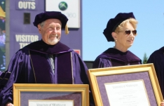 Kent Stowell and Francia Russell receive their honorary Doctor of Arts degrees.