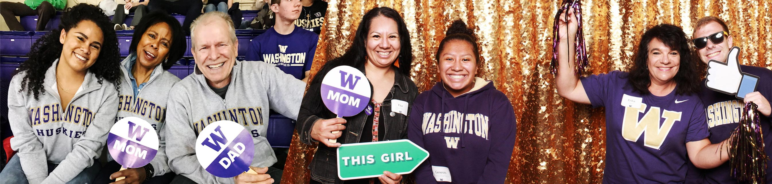 triptych showing a biracial family, a mother and daughter inside a photo booth decorated with gold streamers, a woman and man inside a photo booth decorated with gold streamers
