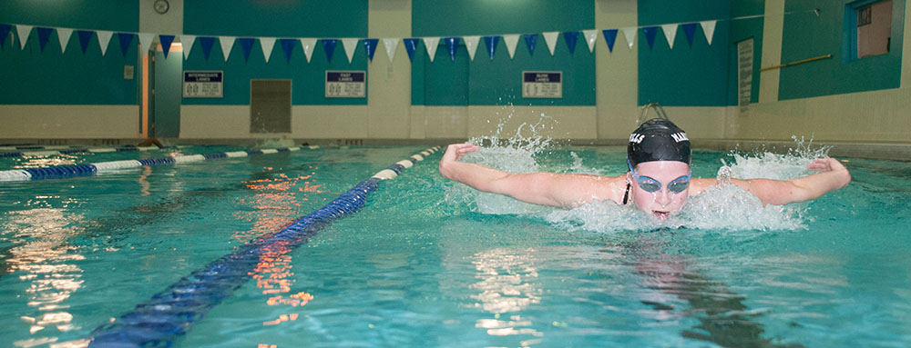Swimmer in Pavilion Pool lap lanes