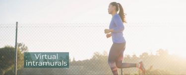 """A woman running next to fence with a caption that reads """"virtual intramurals"""""""
